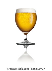 Refreshing light beer in a goblet glass on a pure white background