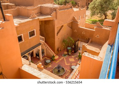 Refreshing mint tea on the patio of the house in Medina Ouarzazate, Morocco