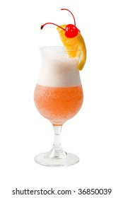 refreshing orange cocktail isolated on white background,clipping Path