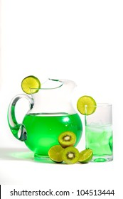 Refreshing pitcher of lime and kiwi fruit drink with fresh sliced fruit.