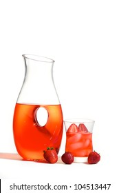 Refreshing pitcher of strawberry fruit drink with fresh sliced strawberries.