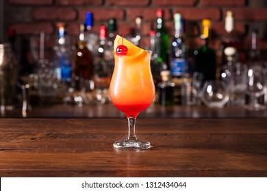 Refreshing Rum Hurricane Cocktail on a Bar