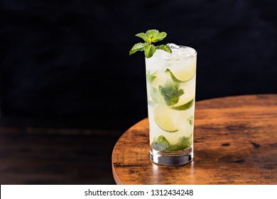 Refreshing Rum Mint Mojito Cocktail on a Table