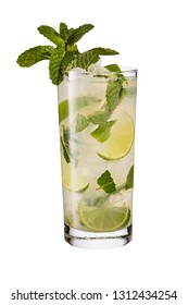 Refreshing Rum Mint Mojito Cocktail on White with a Clipping Path