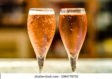 Refreshing Spanish cava (sparkling wine) served in glasses