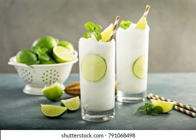 Refreshing summer drink lime frozen cooler or slushie
