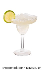 Refreshing Tequila Margarita Cocktail on White with a Clipping Path