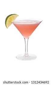 Refreshing Vodka Cosmopolitan Martini Cocktail on White with a Clipping Path