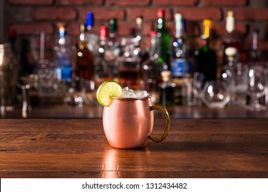 Refreshing Vodka Moscow Mule Cocktail on a Bar
