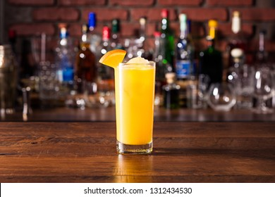 Refreshing Vodka OJ Screwdriver Cocktail on a Bar