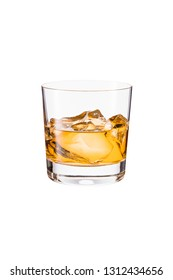 Refreshing Whiskey Rocks Cocktail on White with a Clipping Path