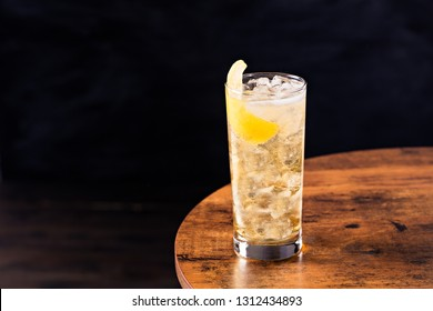 Refreshing Whiskey Soda Cocktail on a Table