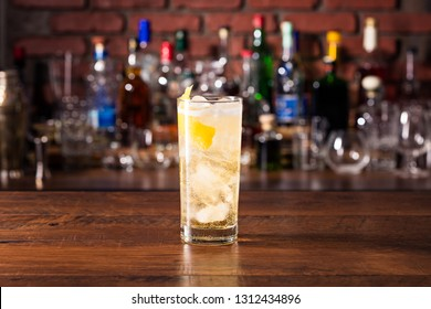 Refreshing Whiskey Soda Cocktail on a Bar