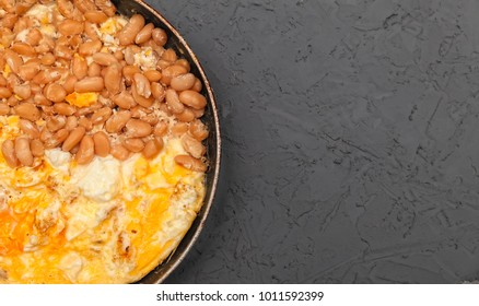 refried beans and scrambled eggs