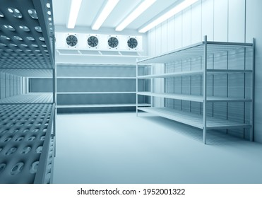 Refrigeration Chamber for Food Storage. Metal Shelves and Racks for String Frozen Foods. Food Freezing Shop. Selective Storage System. Cold Warehouse. Air conditioning on a warehouse wall.