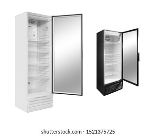 Refrigerator for commercial use to display gastronomic products or drinks on white background