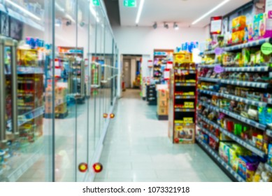 refrigerator and counter products in the store, in defocus