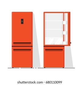 Refrigerator empty illustration, flat cartoon open and closed fridge isolated on white background clipart image