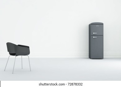 Refrigerator to face a blank black wall