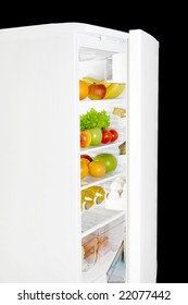 Refrigerator filled with fruit and other useful meal