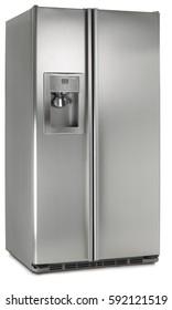 refrigerator fridge freezer  cooler silver modern cold kitchen door
