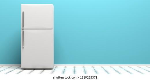 Refrigerator, fridge on kitchen tiled floor, blue wall background, copy space. 3d illustration