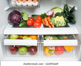 Refrigerator Full of Fresh Fruits, Vegetables, and Organic Meats