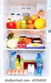 refrigerator full of healthy eating - food and drink