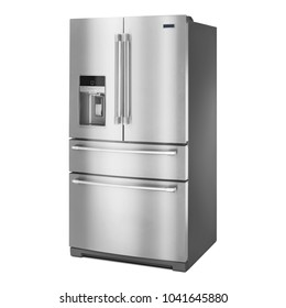 Refrigerator Isolated on White Background. Side View of Stainless Steel Four Door Fridge Freezer. Full Frost Free Refrigerator. French Door Fridge Freezer. Kitchen Appliances. Domestic Appliances