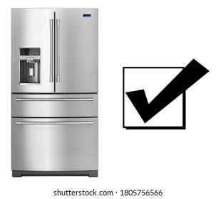 Refrigerator Isolated on White Background. Front View of Stainless Steel Side by Side Four Door Full Frost Free Fridge Freezer. Domestic Kitchen Major Appliances. Bottom Mount Fridge