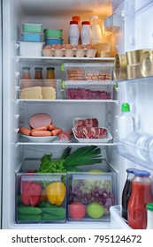 Refrigerator with many different products