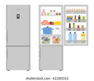 Refrigerator with open doors, a full of food. Raster copy.