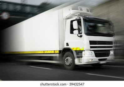 refrigerator Truck  in motion On The Highway