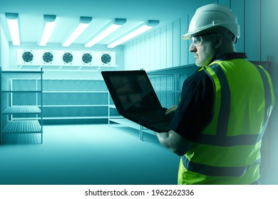 Refrigerators compartment. Warehouse with shelves for food storage. Grocery warehouse with air conditioning. Stelms with shelves.  Industrial refrigerator. Engineer sets up refrigeration equipment.