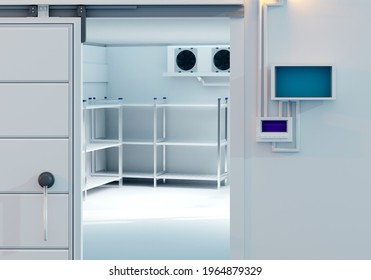 Refrigerators compartment. Warehouse with shelves for food storage. Grocery warehouse with air conditioning. Freezing of products. Stelms with shelves. Refrigeration equipment. Industrial refrigerator