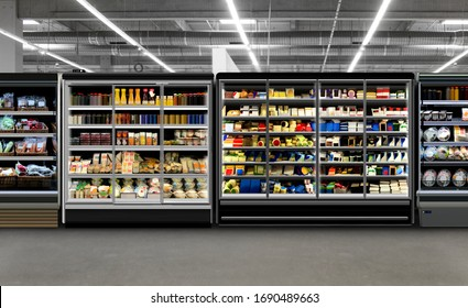 Refrigerators different types of supermarket fredges photo, mock-up, planogram. Suitable for presenting new products, interior design and retail design presentations.