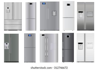 Refrigerators set. Raster version isolated on white background