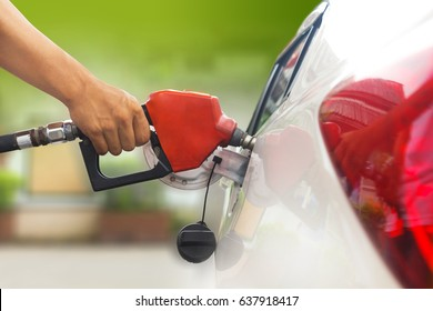 Refuel car with petrol, refueling car at the refuel station