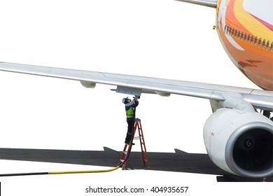 Refueling of the aircraft at the airport on white background.