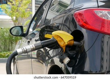 Refueling car at the refuel station , car fuels concept