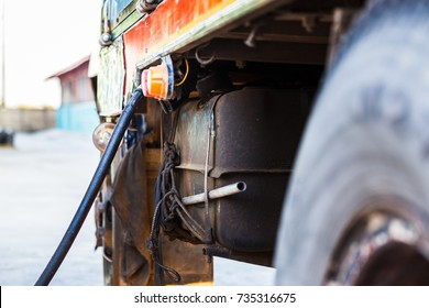 Refuelling a freight transport truck, Old truck