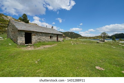 Refuge in the mountain near a lake, Pyrenees-Orientales, France, natural park of the Catalan Pyrenees
