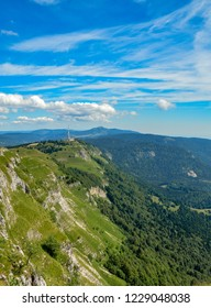 Refuge on the edge of a rocky cliff in Jura mountains in France.