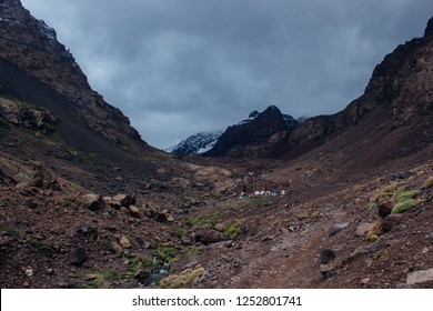 Refuge Toubkal, Les Mouflons, near mount Toubkal on a stormy day. High Atlas mountains, Morocco