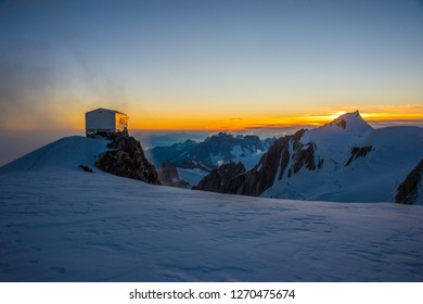 Refuge Vallot below Mont Blanc just before sun rise