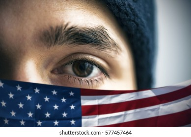 Refugee and American flag, conceptual picture