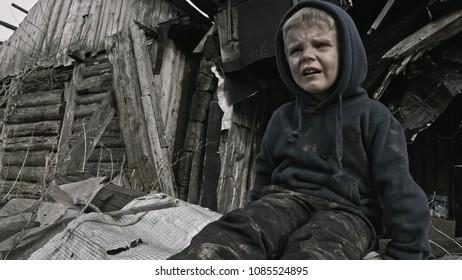 The refugee child cries. War.