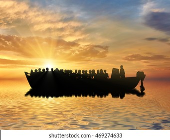 Refugees concept. Boat with refugees at sea