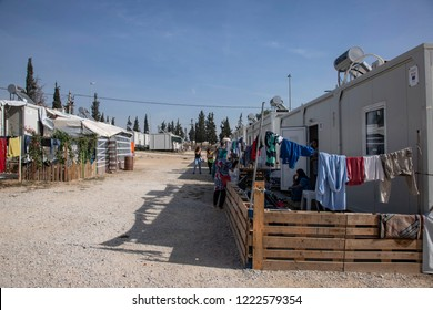Refugees in Diavata refugee camp near Thessaloniki, a converted military camp. Thessaloniki, Greece - November 2, 2018