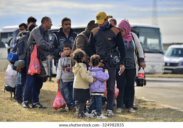 Refugees entering refugee camp in Opatovac enear the border. They will be here only one day and then they will continue into Hungary.  October 5, 2015; Opatovac in Croatia.